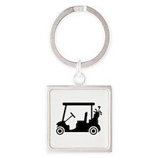 Golf car Square Keychain