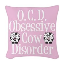 Pretty Pink Cow Woven Throw Pillow