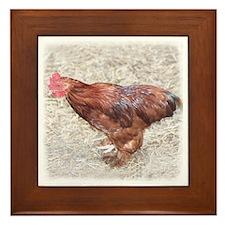 Brown Hen Framed Tile