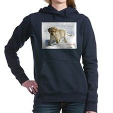 lab puppy in snow square.png Hooded Sweatshirt