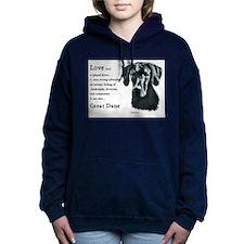 black great dane love is 1.png Hooded Sweatshirt