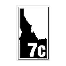 7C County Map, 3X5 Sticker (Wht-Blk)