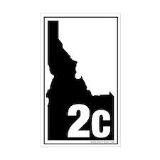 2C County Map, 3X5 Sticker (Wht-Blk)