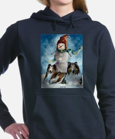 collies snowman rectangle (2).png Hooded Sweatshir