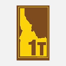 1T County Map, 3X5 Sticker (Brn-YL)