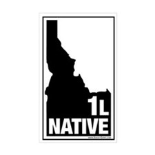 1L Native County Map, 3X5 Sticker (Wht-Blk)