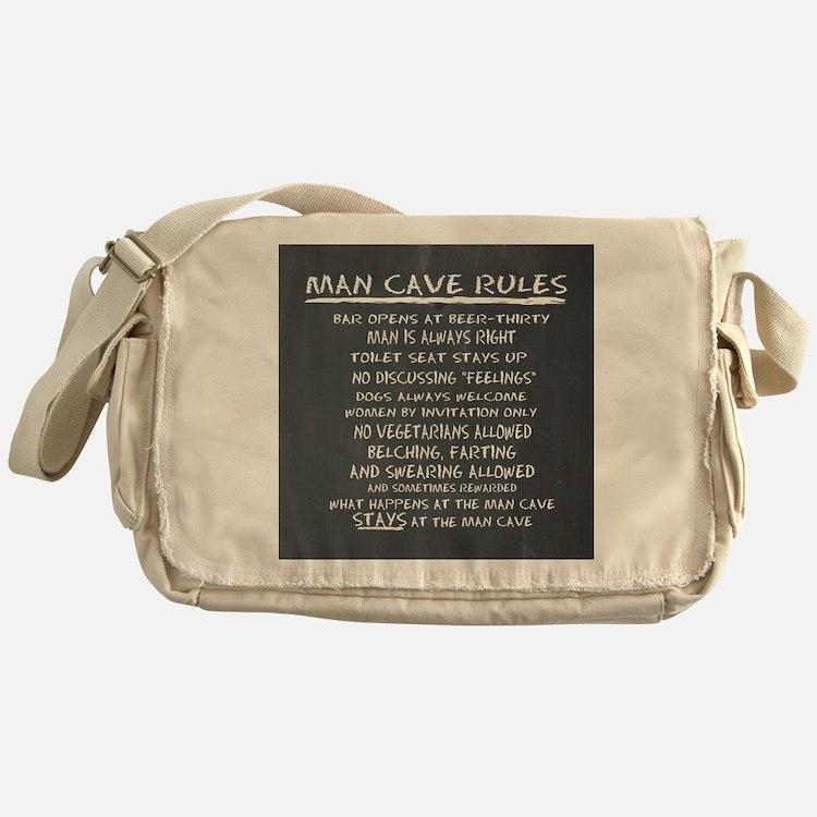 Man Cave Rules Messenger Bag