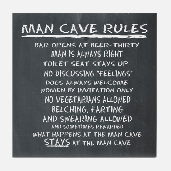Man Cave Rules Tile Coaster