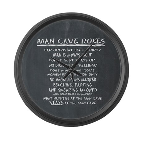 Man Cave Rules Large Wall Clock