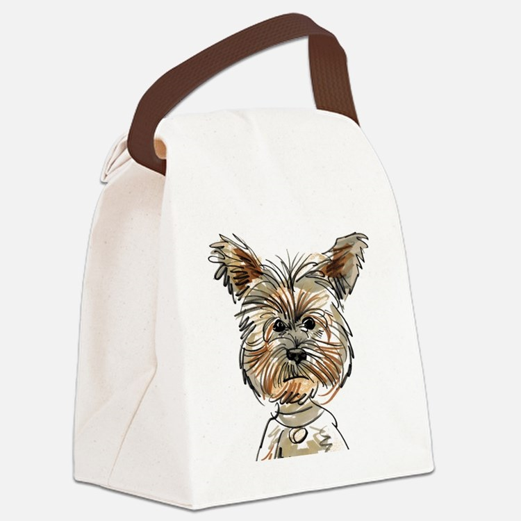 Yorkie Sketch Canvas Lunch Bag