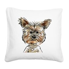 Yorkie Sketch Square Canvas Pillow