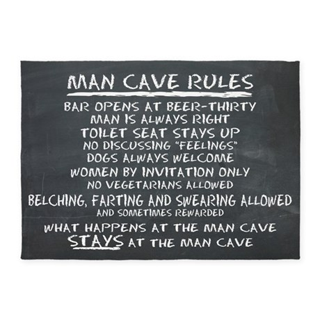 Man Cave Rules 5u0027x7u0027Area Rug