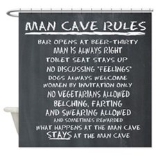 Man Cave Rules Shower Curtain