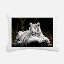White Tiger Cub Rectangular Canvas Pillow