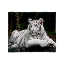 White Tiger Cub Throw Blanket