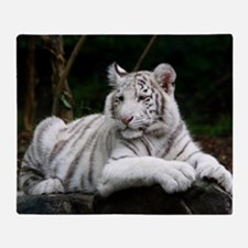 White Tiger Cub Throw Blanket