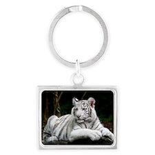 White Tiger Cub Landscape Keychain