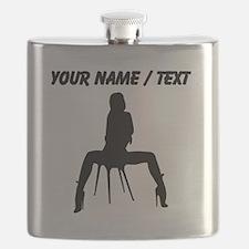 Custom Sexy Woman On Chair Silhouette Flask