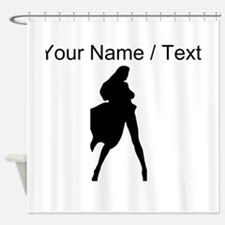 Custom Woman In Cape Silhouette Shower Curtain