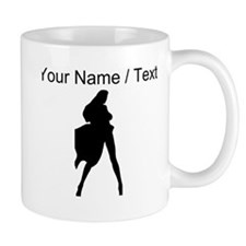 Custom Woman In Cape Silhouette Mugs
