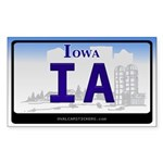 Iowa License Plate Rectangle Sticker