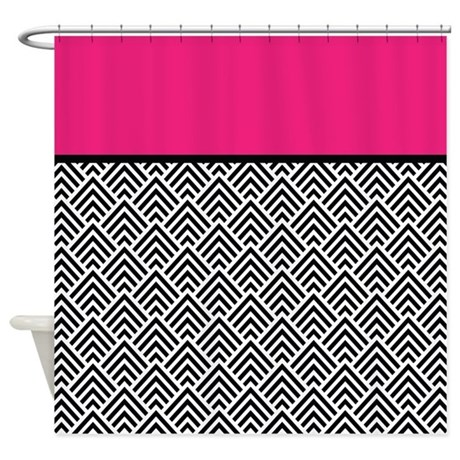 hot pink and black chevron shower curtain by antique images