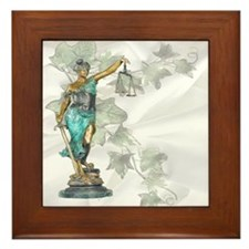 Lady Justice on Satin and Ivy Framed Tile