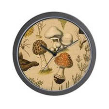 Old Mushrooms Wall Clock