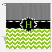 Gray Green Monogram Shower Curtain