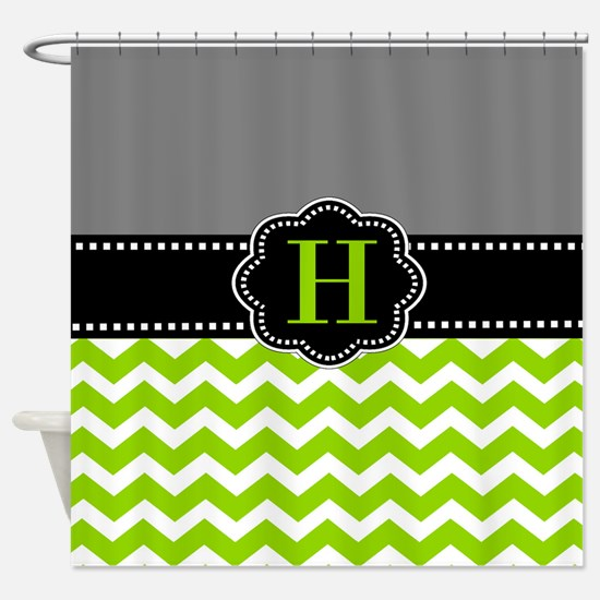 gray and green shower curtain. Gray Green Monogram Shower Curtain Grey And Lime Curtains  CafePress