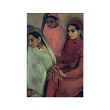 Amrita Sher-Gil - Three Girls Rectangle Magnet