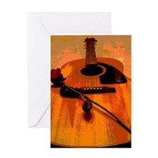 Folk Art Acoustic Guitar Romance Greeting Card