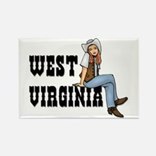 WV Cowgirl Rectangle Magnet
