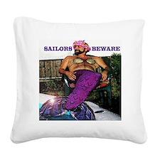 Sailors beware!  Merman here! Square Canvas Pillow