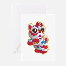 Cute Lion Dancer Greeting Cards