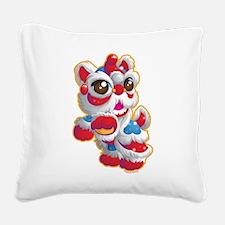 Cute Lion Dancer Square Canvas Pillow
