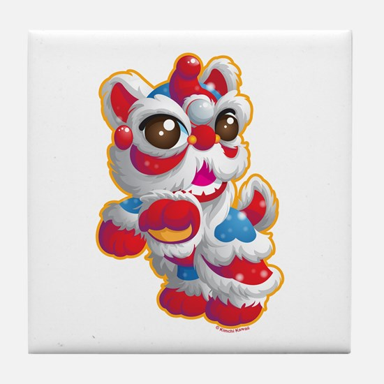 Cute Lion Dancer Tile Coaster