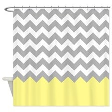Gray chevrons with A yellow bottom Shower Curtain