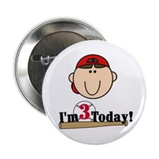 Baseball 3rd Birthday(brown) Button