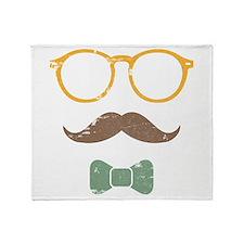 Mustache Face w/ Bowtie Throw Blanket