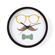 Mustache Face w/ Bowtie Wall Clock