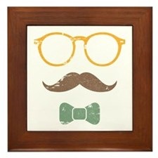 Mustache Face w/ Bowtie Framed Tile