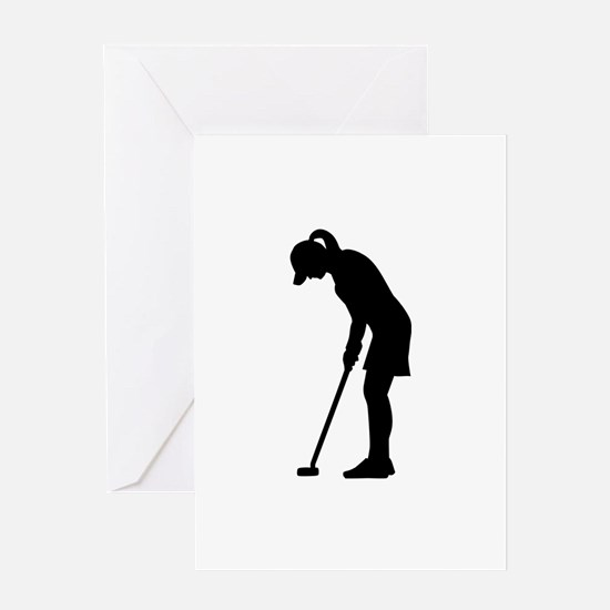 Golf woman girl Greeting Card