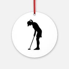 Golf woman girl Ornament (Round)