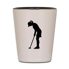 Golf woman girl Shot Glass