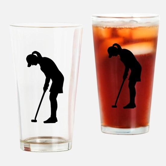 Golf woman girl Drinking Glass