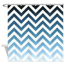 Blue gradients chevrons 01 Shower Curtain