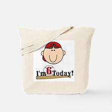 Baseball 6th Birthday(brown) Tote Bag