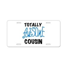 Blue Awesome Cousin Aluminum License Plate