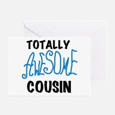 Blue Awesome Cousin Greeting Card